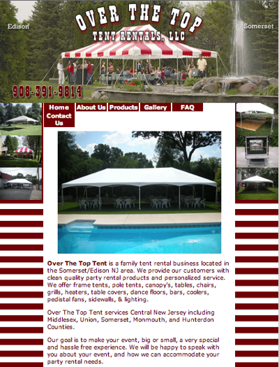 click to view the website overthetoptentrentals.com